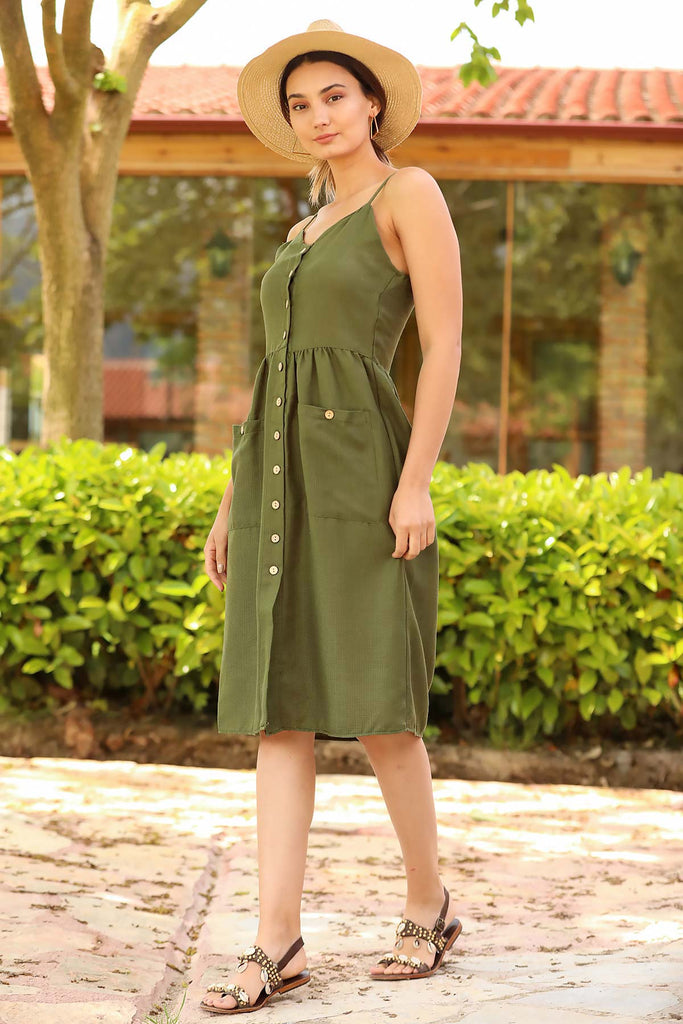 Thin Strappy Khaki Dress