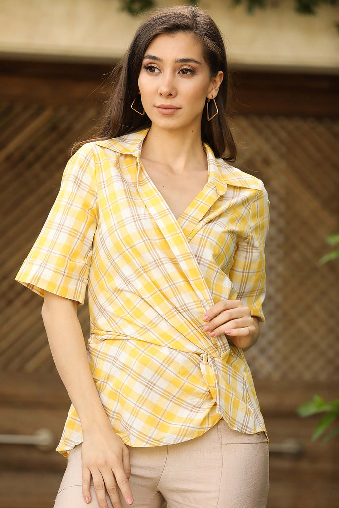 Women's Plaid Yellow Blouse