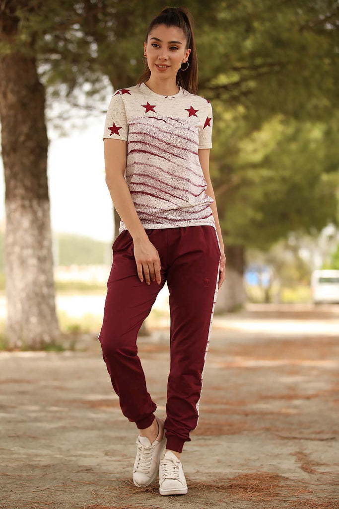 Women's Printed T-shirt Claret Red Pants Training Suit