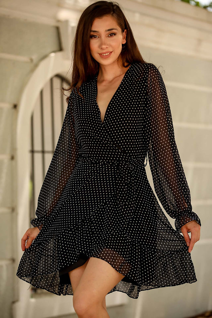 Women's Dotted Navy Blue Chiffon Short Dress
