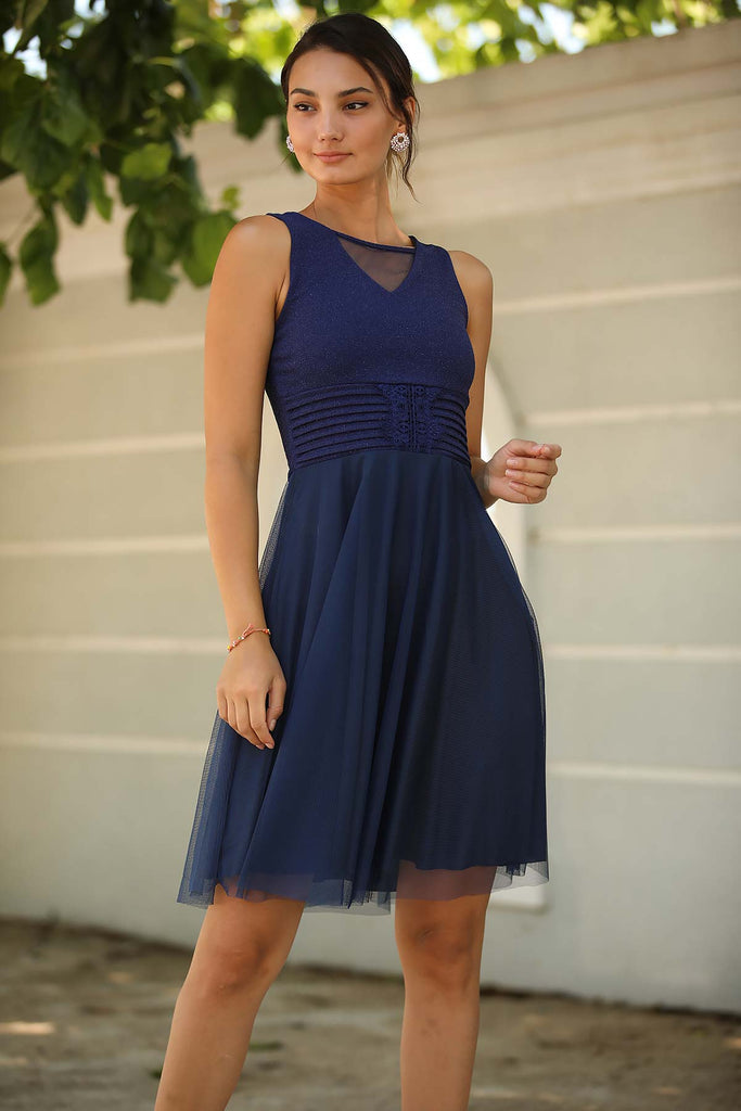Women's Short Navy Blue Evening Dress
