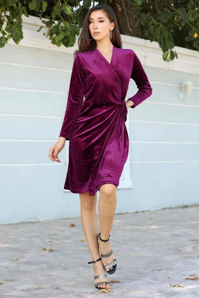 Women's Purple Velvet Short Dress