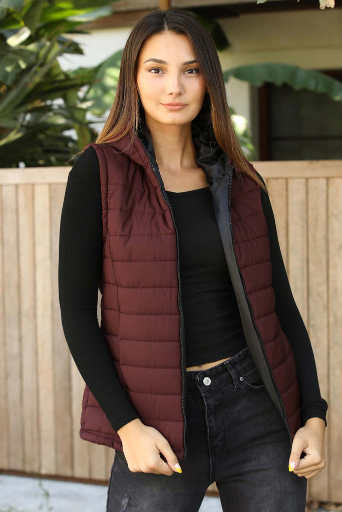 Women's Hooded Claret Red Vest