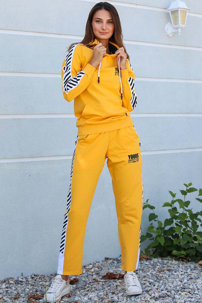 Women's Printed Yellow Sweat Suit