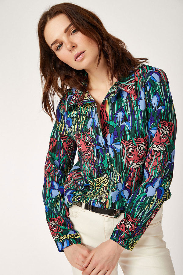 Women's Patterned Crepe Shirt