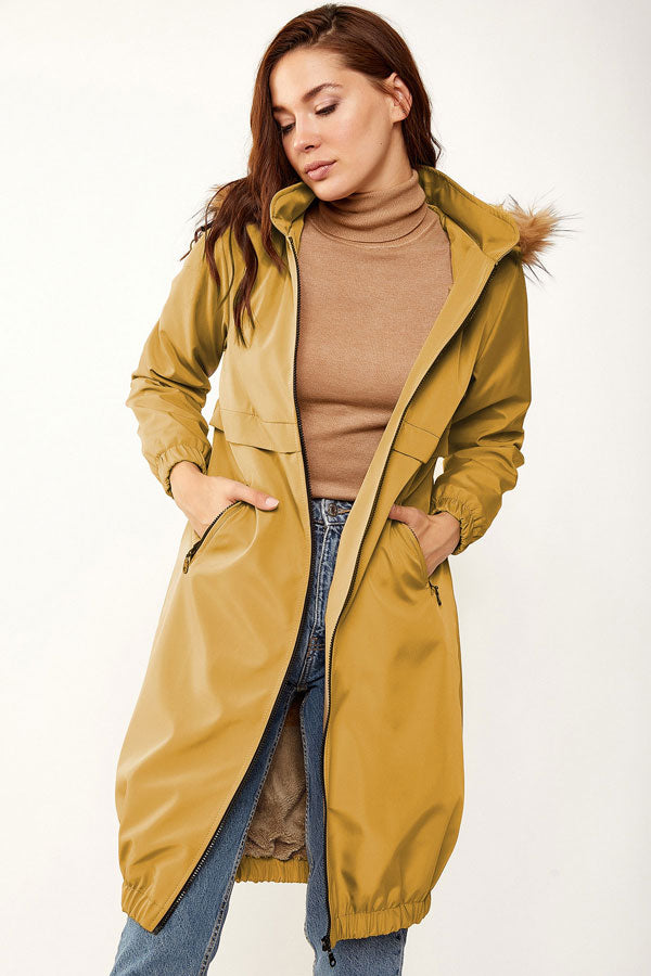 Women's Hooded Inner Furry Mustard Coat