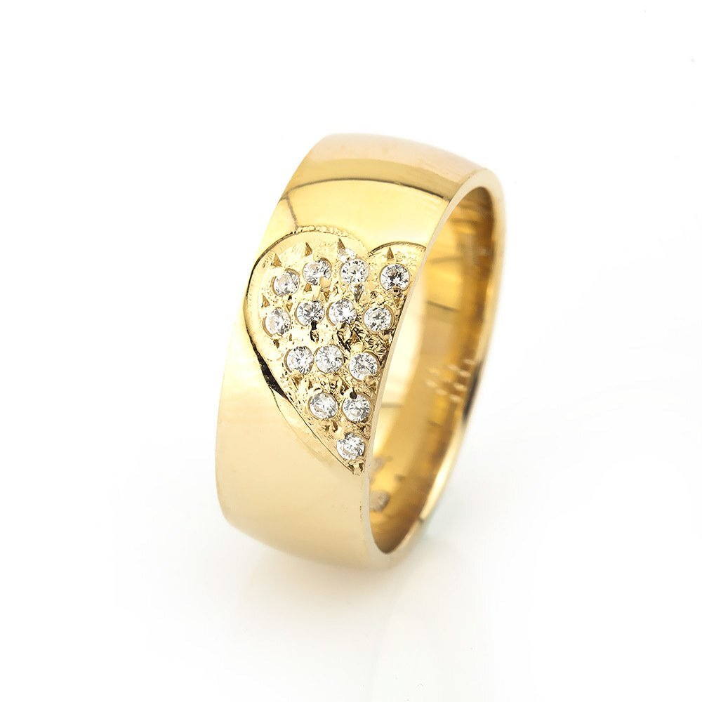Women's Zircon Gemmed Gold Plated 925 Carat Silver Wedding Ring