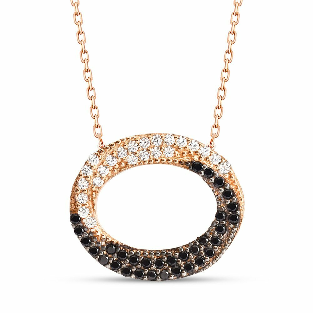 Women's Black White Zircon Gemmed 925 Carat Silver Necklace