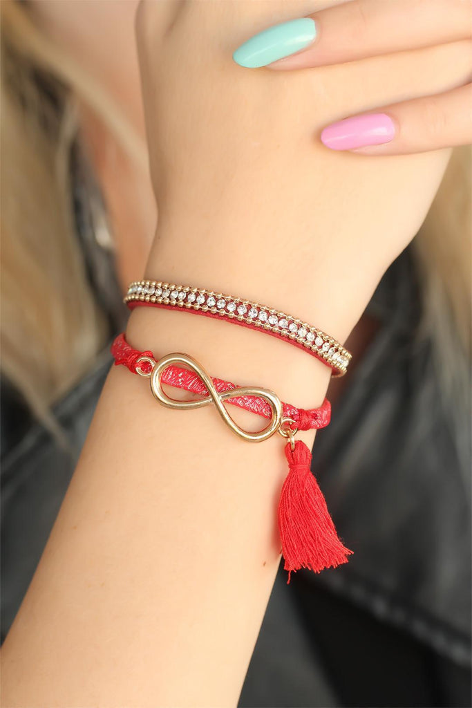Women's Metal Infinity Figure Fringe Red Bracelet