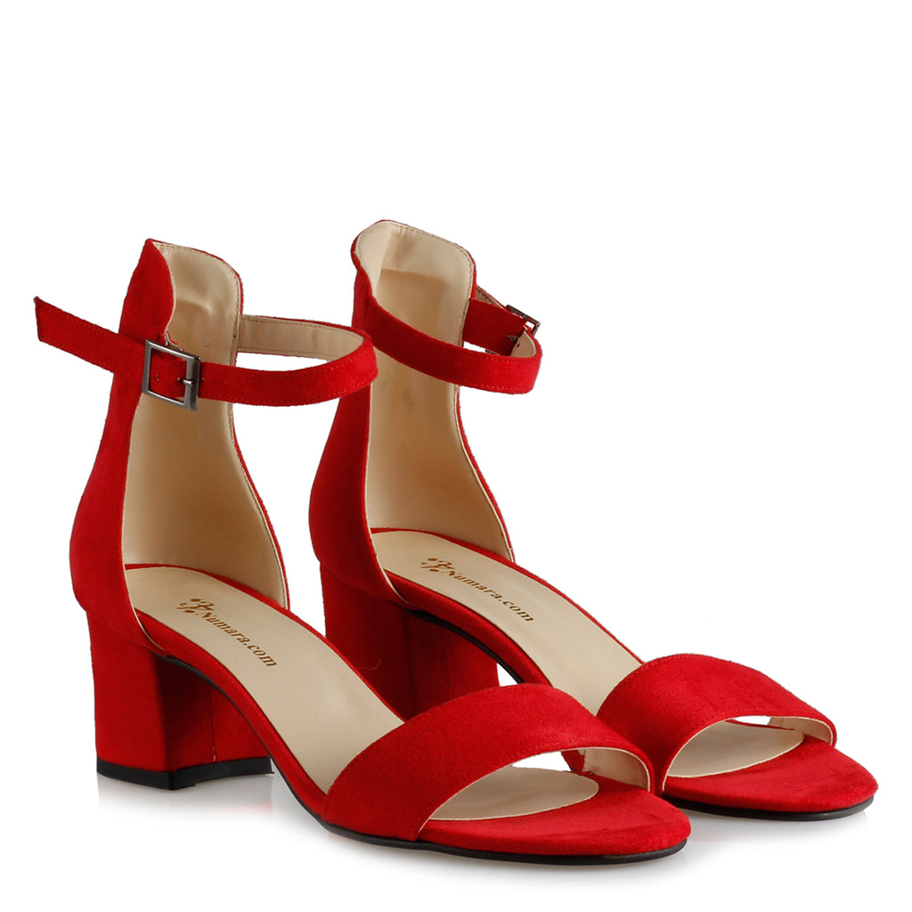 Women's Red Suede Low Heeled Sandals
