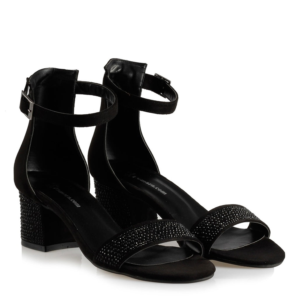 Women's Gemmed Black Low Heeled Sandals