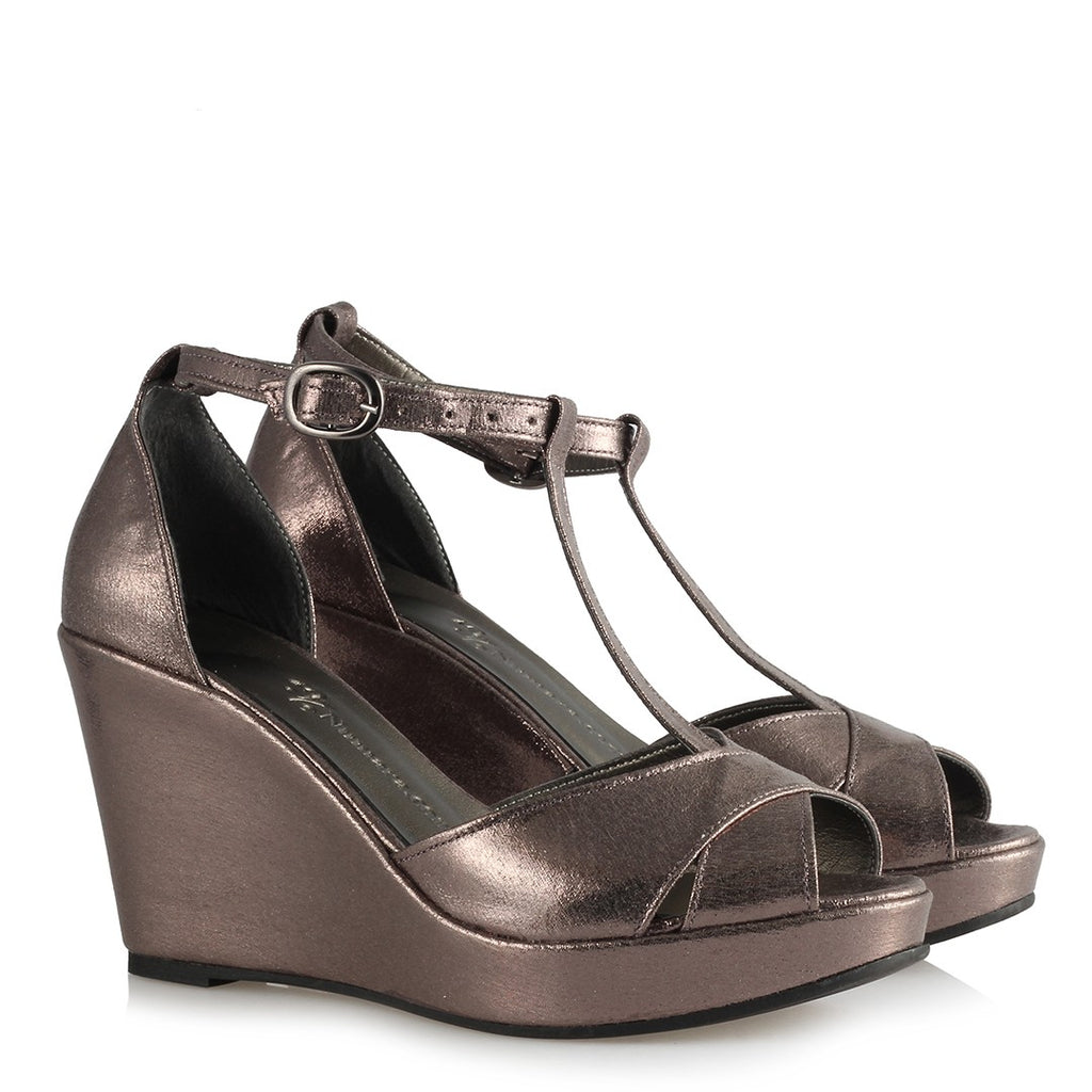 Women's Bronze Wedge Sandals