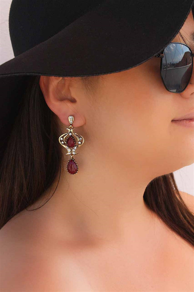 Women's Claret Red Gemmed Earrings