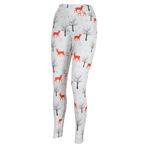 Women's Red Deer Pattern White Tights