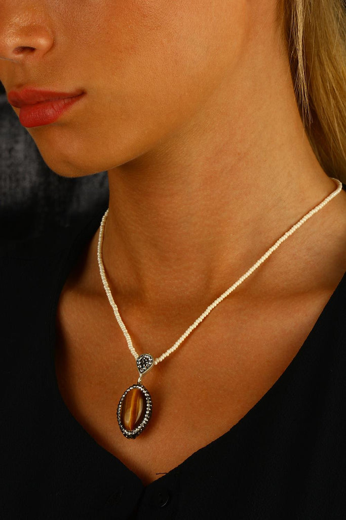 Women's Tiger Eye Natural Stone Necklace