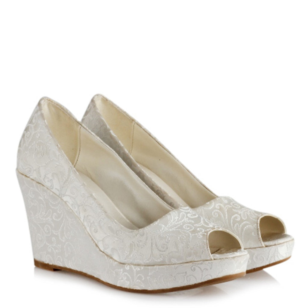 Women's Peep Toe Bridal Wedge Shoes
