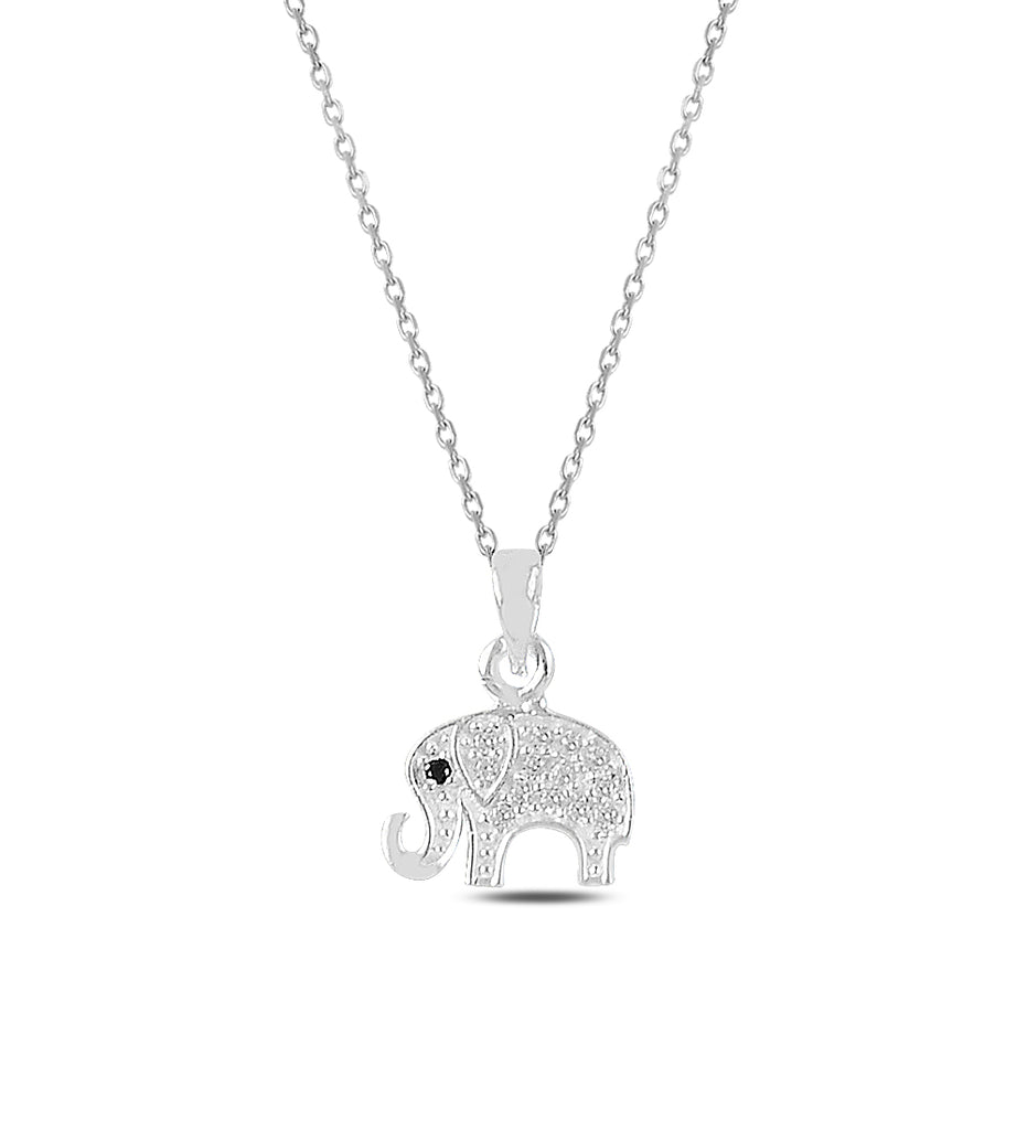 Unisex Elephant Pendant Silver Necklace