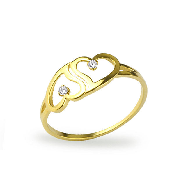 Women's Heart Design Gold Ring