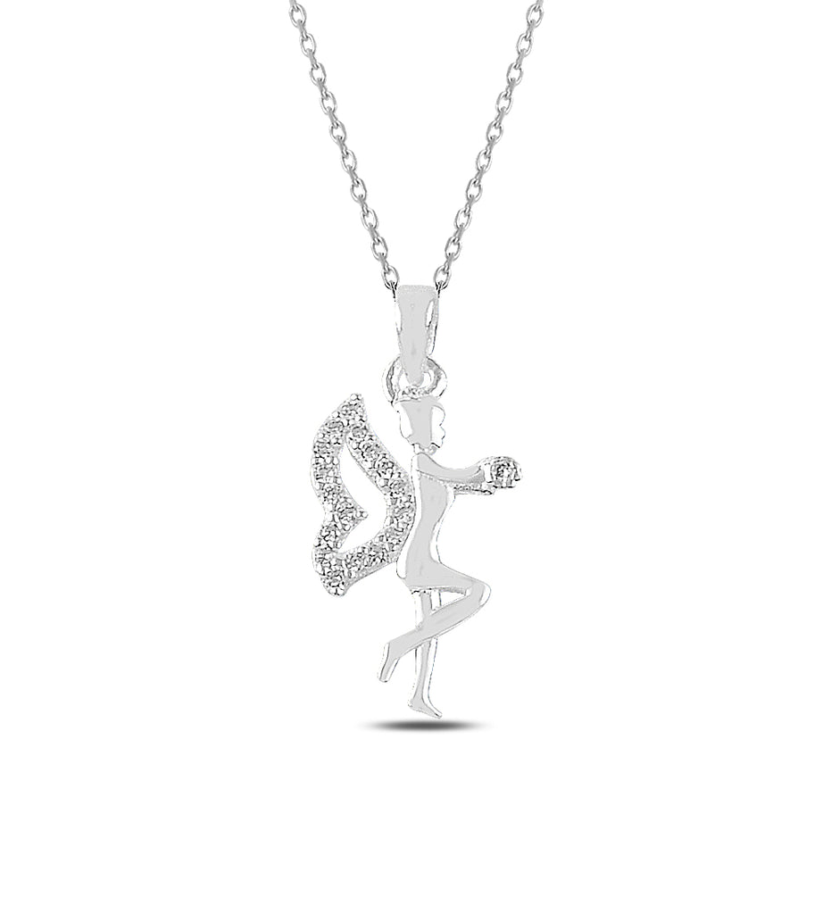 Women's Winged Ballerina Gİrl Silver Necklace