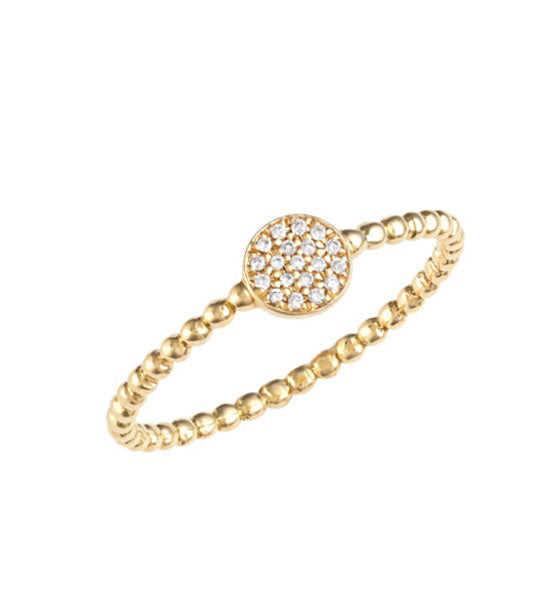 Women's Diamond Gemmed Gold Plated Silver Ring