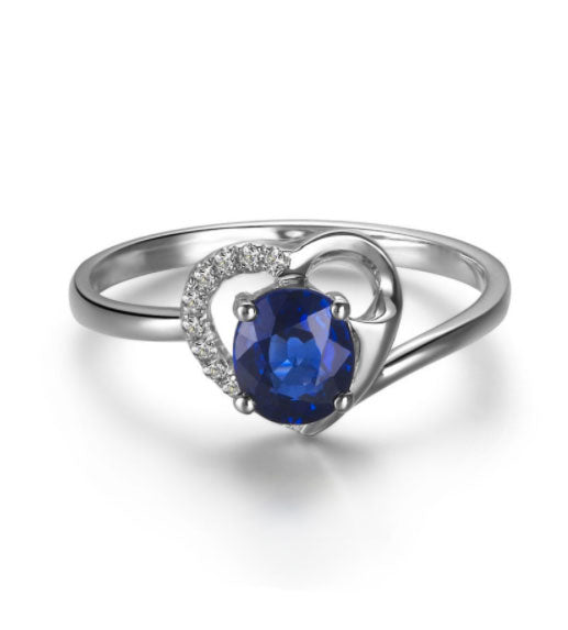 Women's Sapphire & Diamond Heart Ring