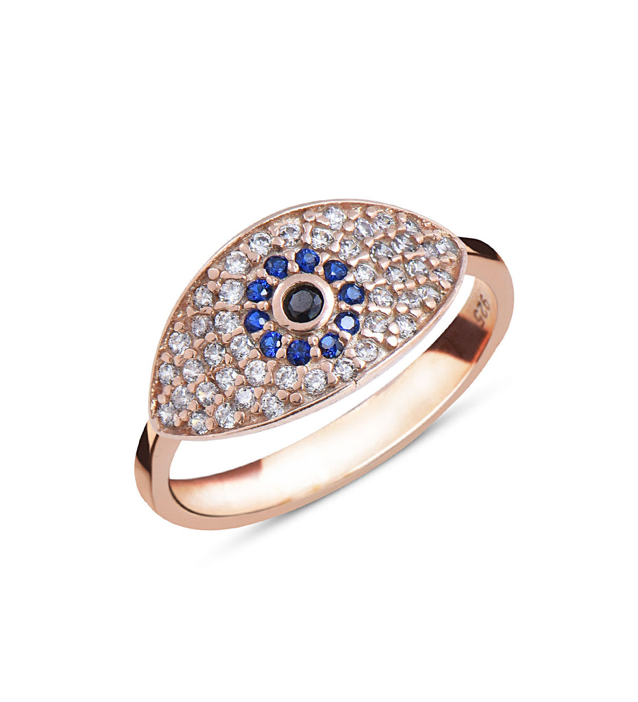 Women's Gemmed Evil Eye Design Ring