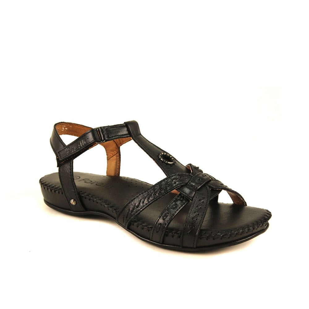 Women's Black Leather Sandals