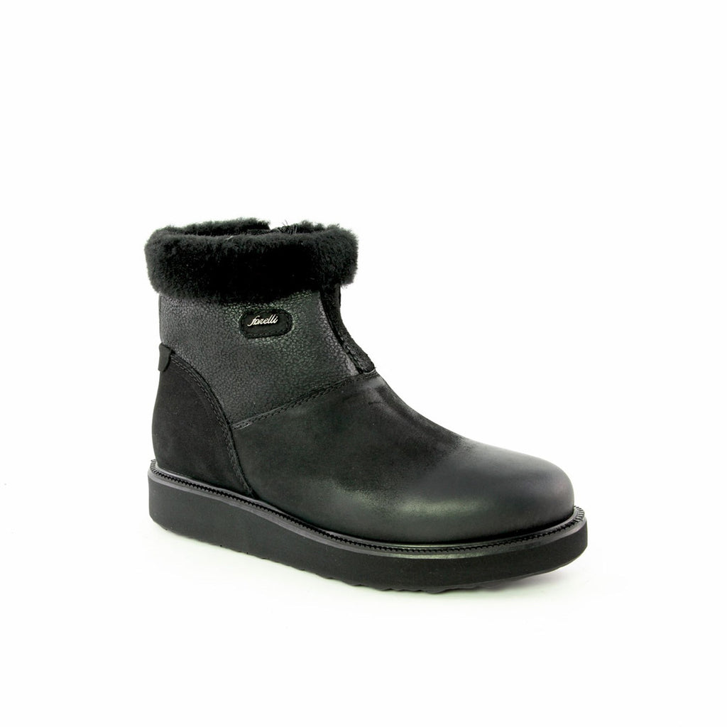 Women's Inner Wool Black Leather Comfort Boots