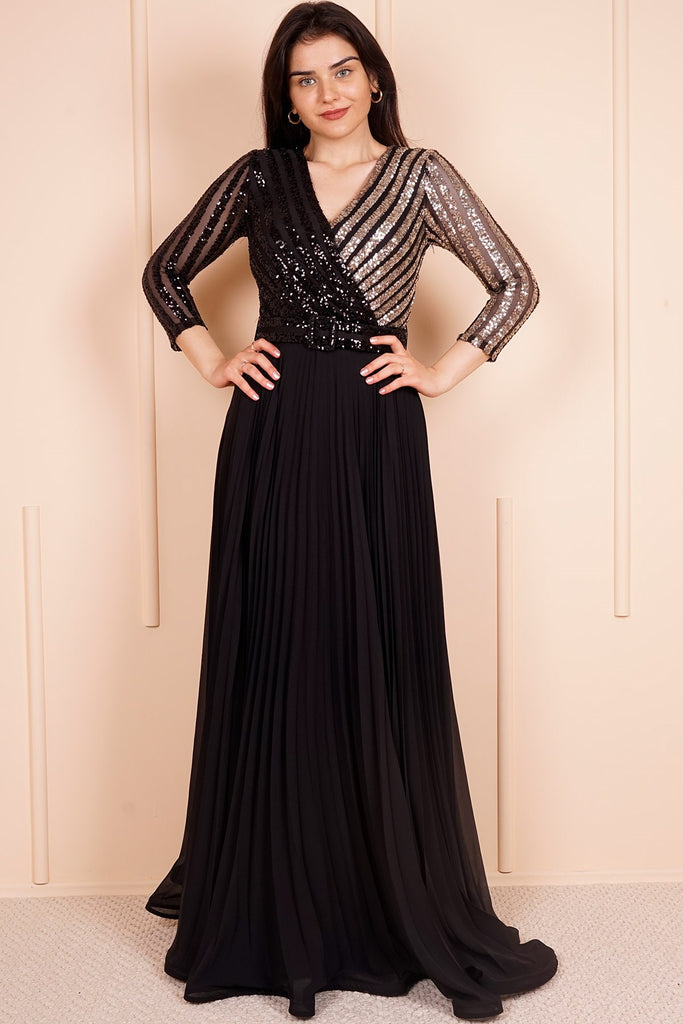 Women's Pleated Sequin Top Black- Gold Evening Dress