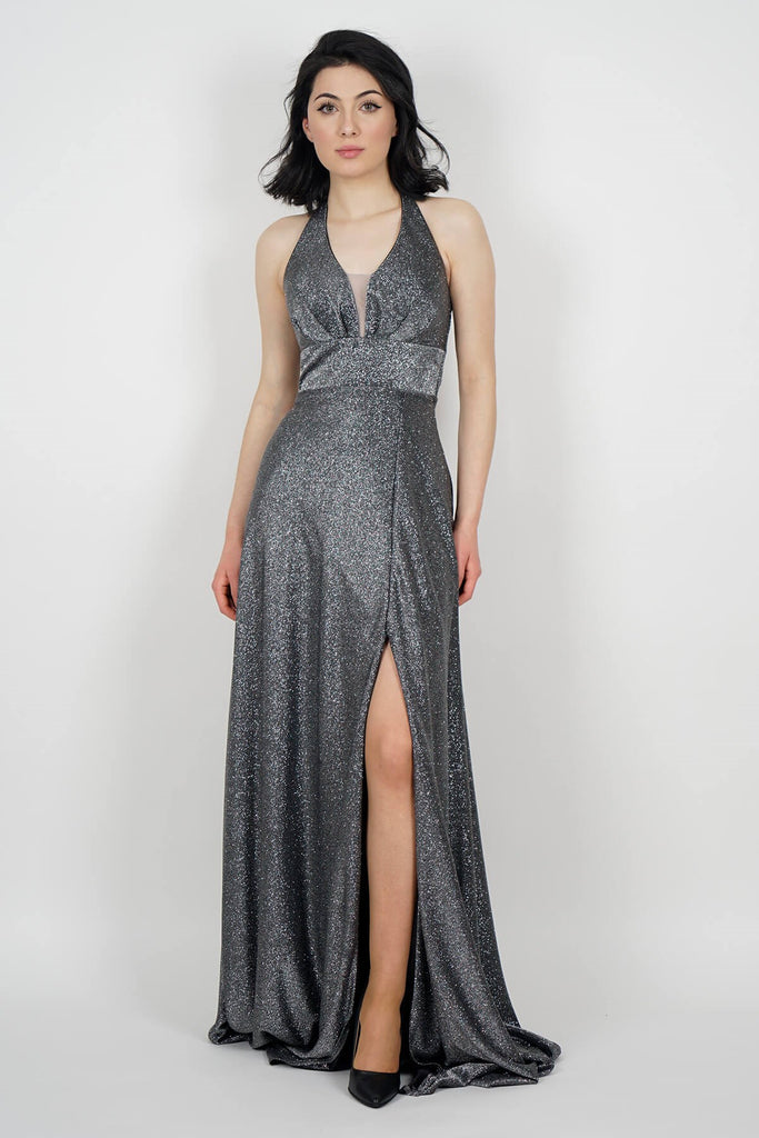 Women's Tie Collar Glitter Grey Long Evening Dress