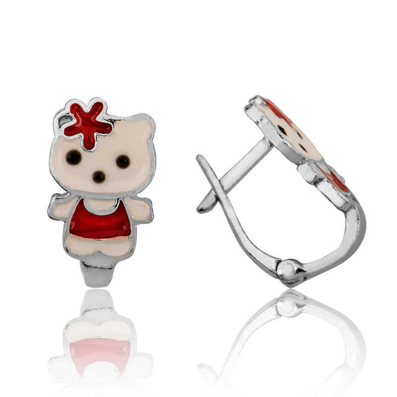 Girl's Bear Figure Silver Earrings