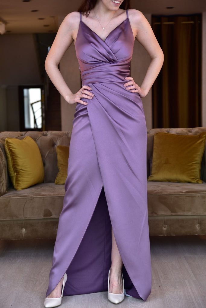 Women's Thin Strap Lavender Satin Long Evening Dress