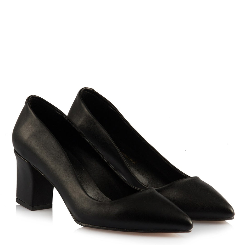 Women's Matte Black Thick Heeled Shoes