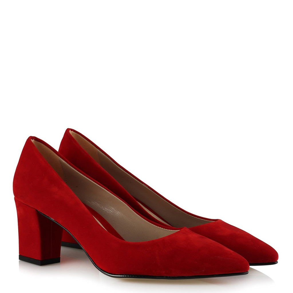 Women's Red Suede Thick Heeled Shoes