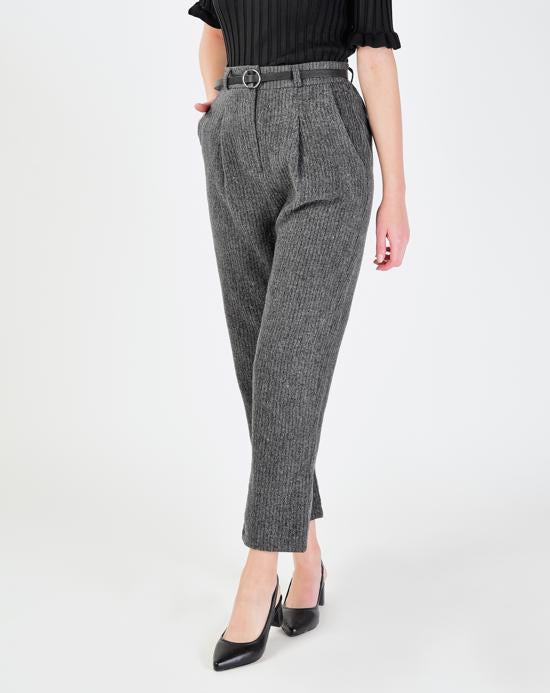 Women's Belted Grey Pants