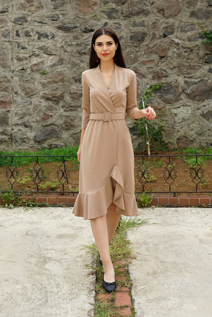 Women's Belted Mink Midi Dress