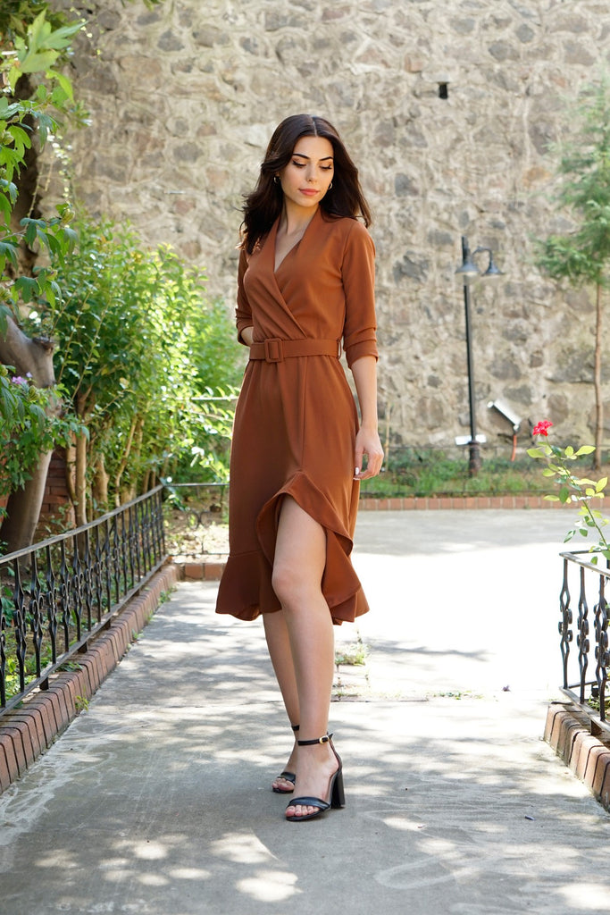 Women's Belted Ginger Midi Dress