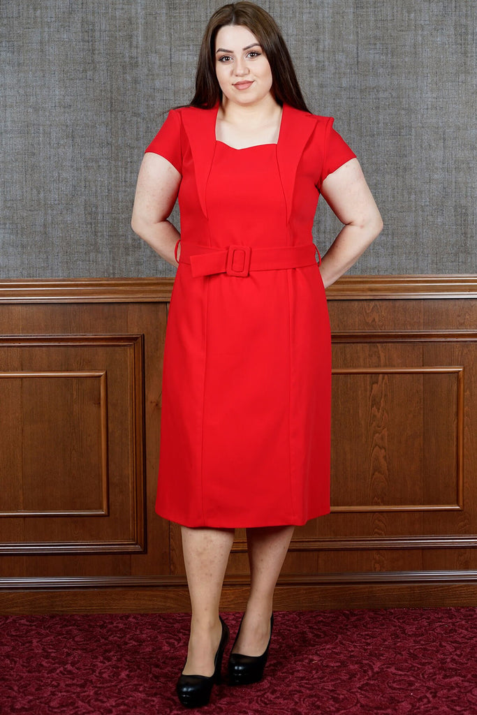 Women's Oversize Square Neck Belted Red Midi Dress