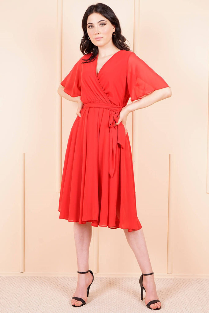 Women's Wrap Red Chiffon Midi Dress