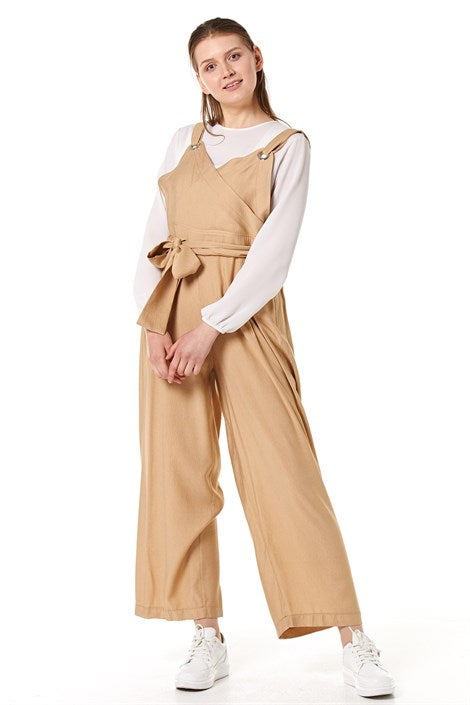 Women's Belted Beige Overall
