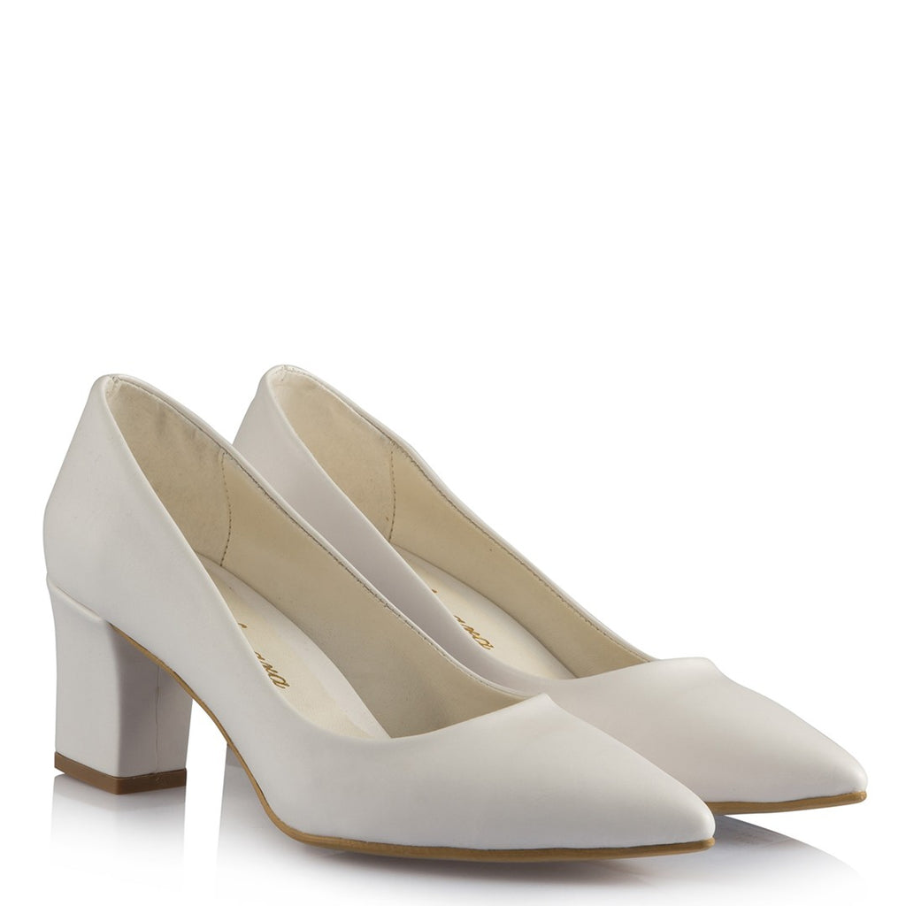 Women's White Leather Engagement Thick Heeled Shoes