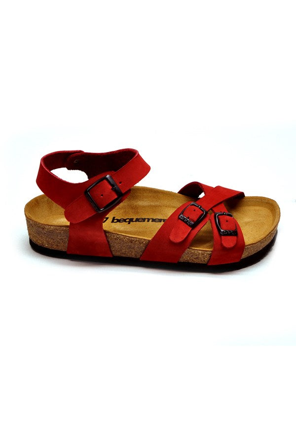 Women's Anatomical Natural Footbed Double Band Red Leather Sandals