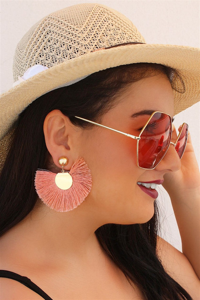 Women's Pink Fringe Earrings - 1 Pair