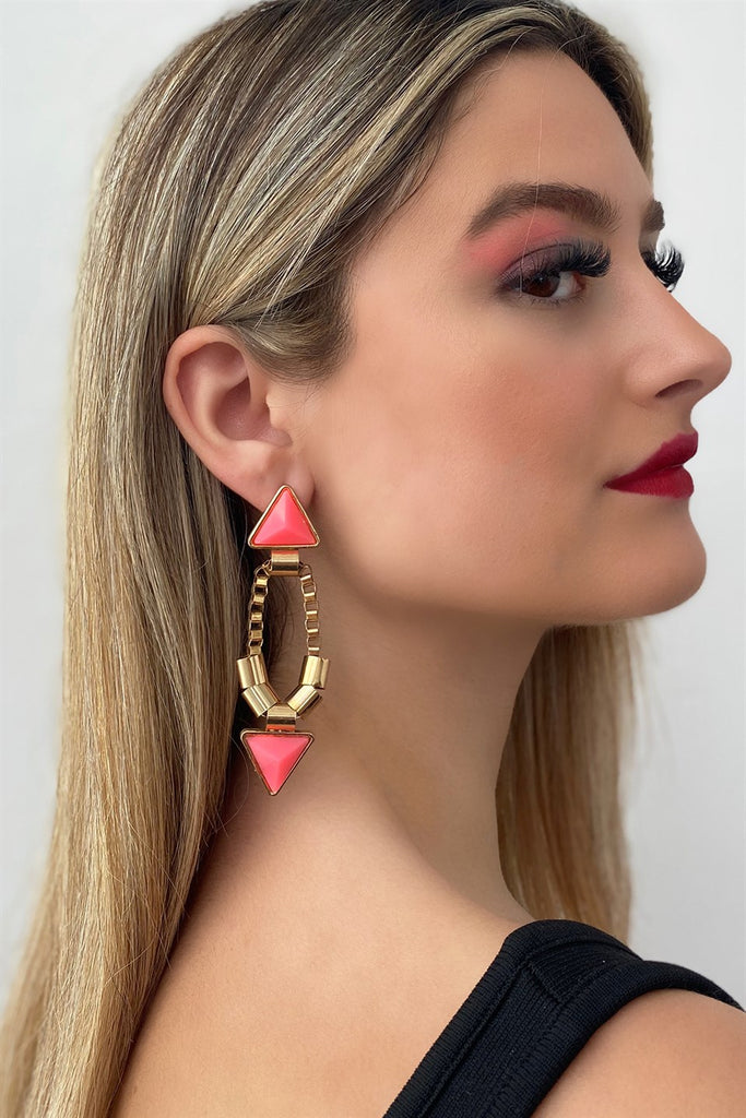 Women's Pink Triangle Figure Dangle Earrings (1 Pair)