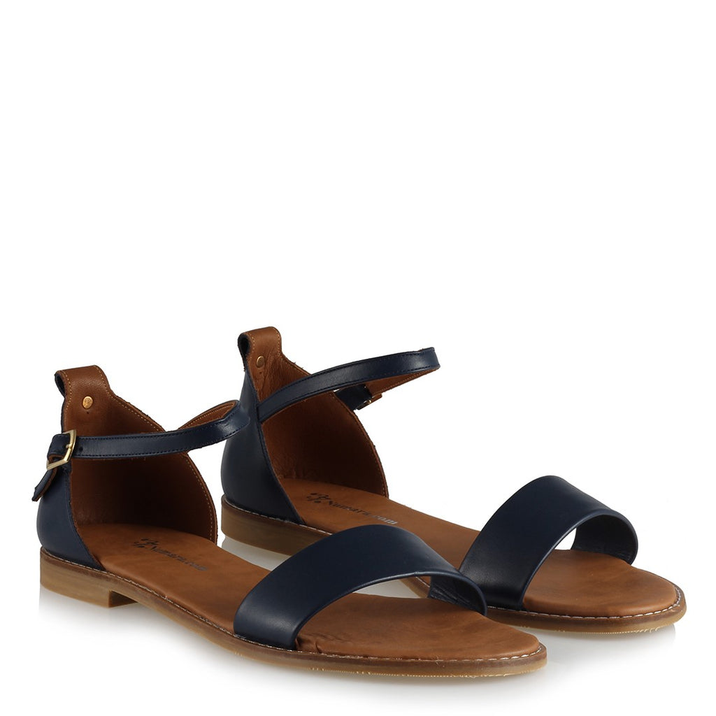 Women's Navy Blue Leather Sandals
