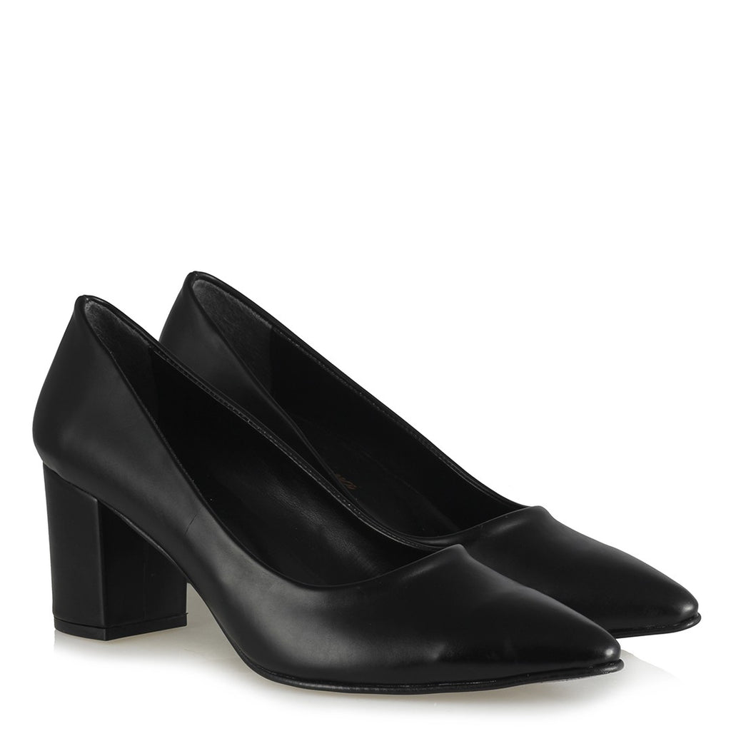Women's Black Thick Heeled Shoes