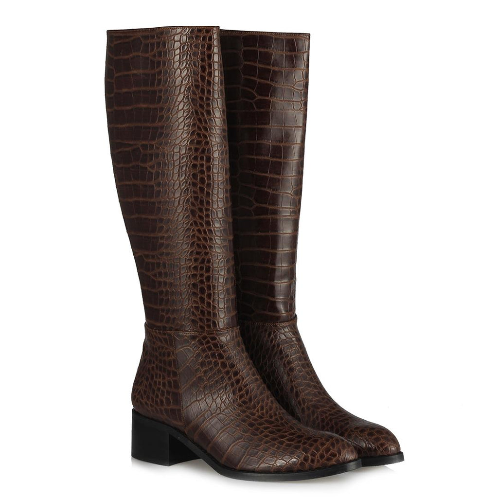 Women's Long Brown Crocodile Heeled Boots