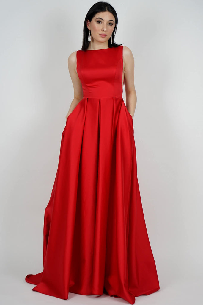 Women's Red Satin Long Evening Dress