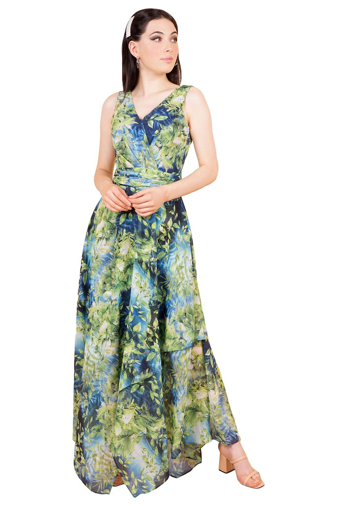 Women's Imprint Pattern Green Long Dress
