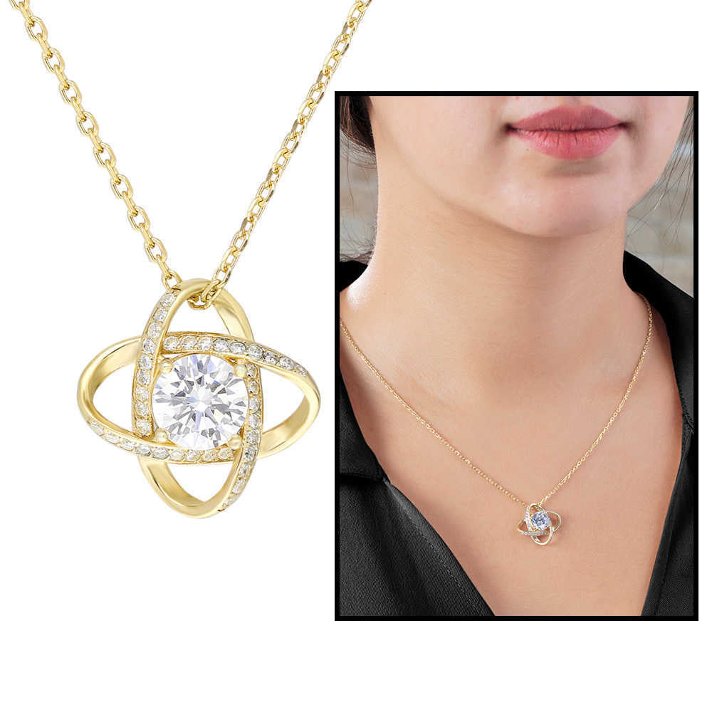 Women's Zircon Gemmed Gold Plated 925 Carat Silver Necklace